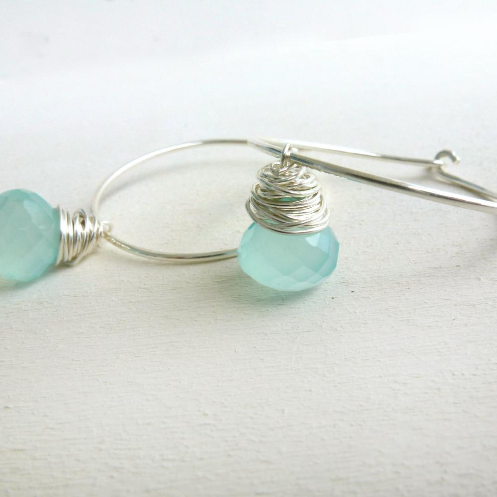 Blue Chalcedony Earrings Wire Wrapped Briolettes in Sterling Silver