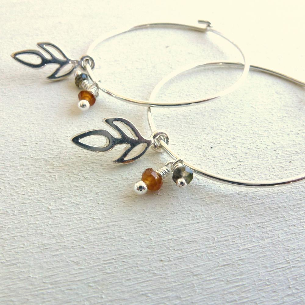 Sterling Silver Hoop Earrings with Charms and Gemstone Dangles
