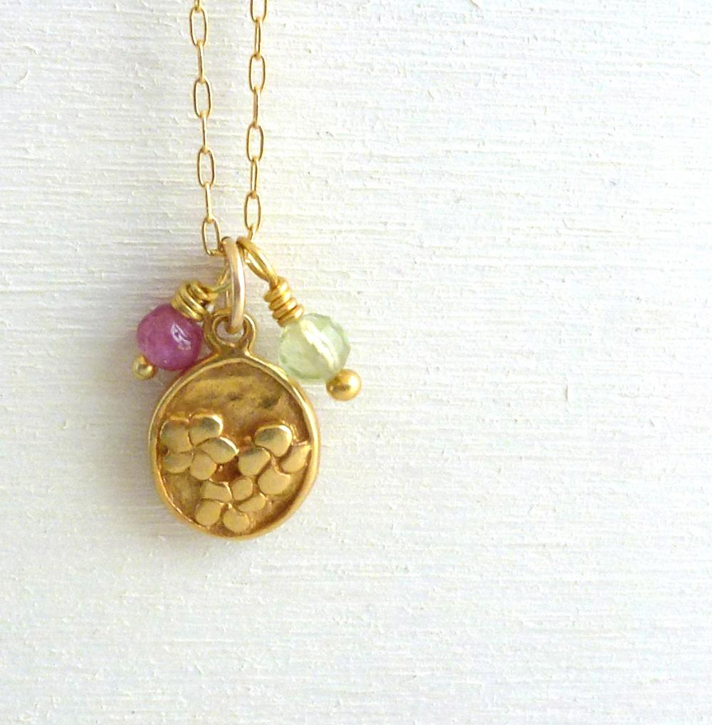Flower Charm Necklace in Gold Filled with Pink and Green Tourmaline